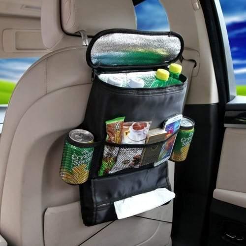 Car Back Seat Organizer with Cooler Bag – Black