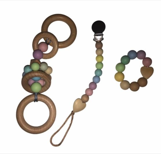 Rainbow Dummy Clip with Wooden Ring Toy and Teether Ring Set